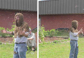 man covered in bees speaking outside brick building on grass