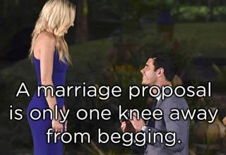 man kneeling before woman wearing a blue dress