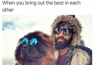 a man and his dog wearing sun glasses