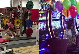 lady lifts weights in a gym very incorrectly, lady at a casino has balloons near her head