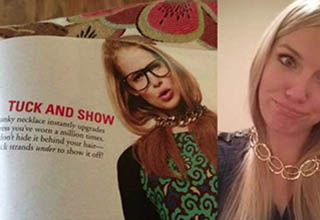 lady tucks her hair under a necklace in real life and in a magazine, a pregnant lady holds her stomach
