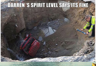 a man measures a pothole with a spirit level and some made a meme picking fun at the size of the whole