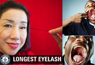lady grabbing her long eyelash in front of a red background. Other guy stretches his mouth out and puts a coke in his mouth