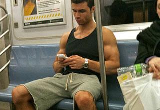 buff guy man spreading on the train