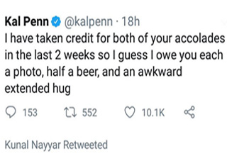 a tweet from Kal Penn talking about being mistaken for other actors