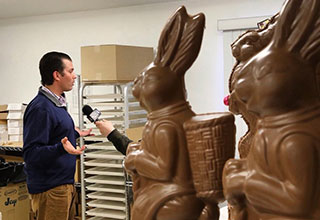Don Jr talking to a chocolate bunny