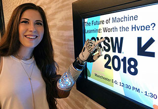 woman with a bionic arm at sxsw