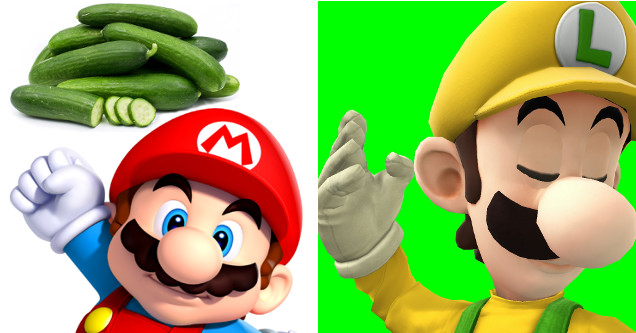 Luigi with Mario and some cucumbers.