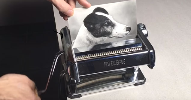 an old school turn by hand shredder and a photo of a dog