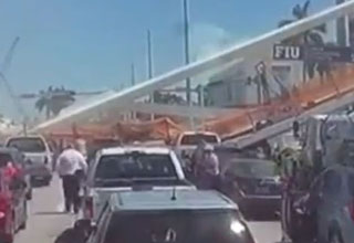 a dashcam in a truck records the bridge at FUI as it collapses onto vehicles