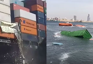 container ships crashing into each other