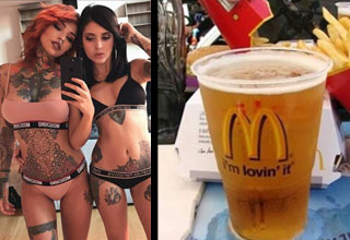two tattooed ladies in bikinis and a mcdonalds cup full of beer