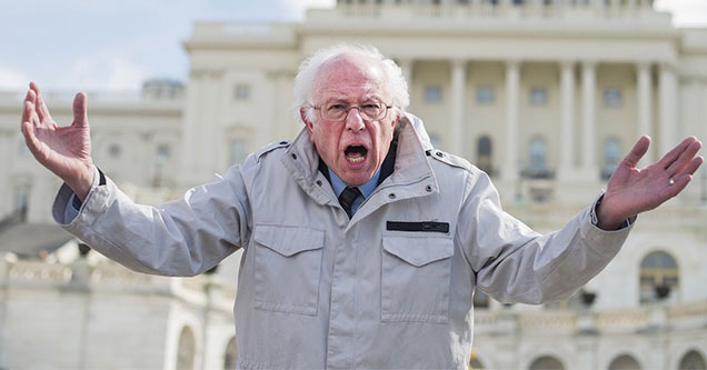 Bernie Sanders looking angry in front of the capital building