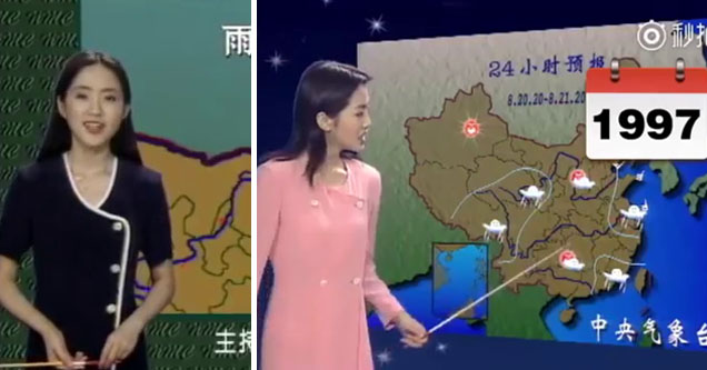 lady in black reading the weather in china, same lady reading the weather in china in 1997