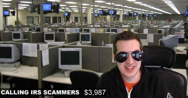 Youtuber Kitboga Scambaiting screenshot from a video about him trolling IRS scammers