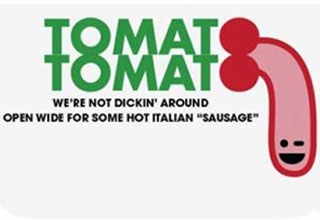 a logo for tomato tomato that looks like a penis