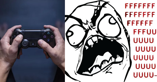 Gaming controller angry.
