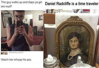 buff lady standing in front of the mirror with no sleeves, painting of a lady in a frame who looks like daniel radcliffe