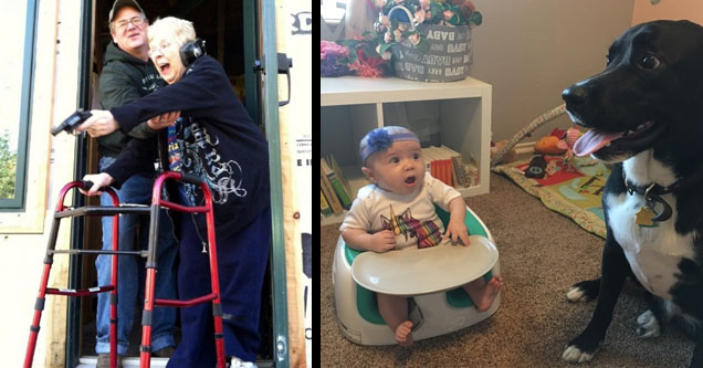 an old woman with a walker shooting a gun and a baby meeting a dog for the first time