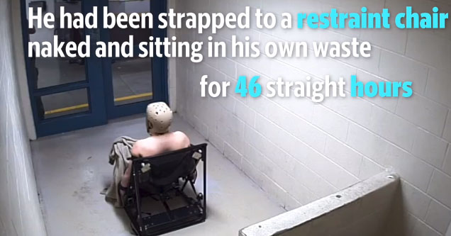 a man named andrew holland sits in a plastic restraint chair