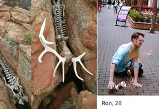 man falling and spilling coffee all over himself on the sidewalk in his tinder picture, antelope's skeleton stuck between a rock its flesh is all gone
