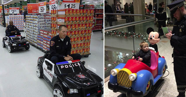 two cops in toy cop cars going through a walmart, a kid in a toy car being pulled over by a different police officer