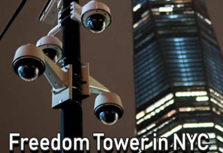 security cameras in front of freedom tower in new york the 911 memorial