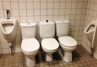 toilets, together