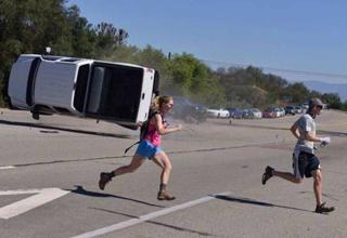 a couple runs from a terrible car crash