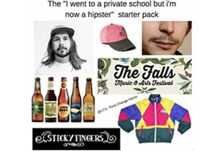 various items forming a starter pack for lady who works at the grocery including a pad a cat and a headband, the same for a hipster including a stache a bright windbreaker and craft beer