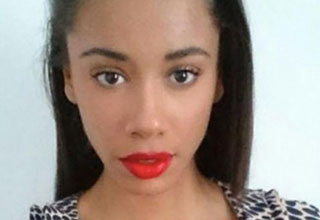 young black woman with bright red lips