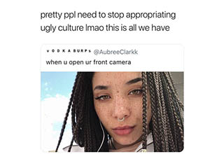 a lady with dreds taking a selfie and text from twitter