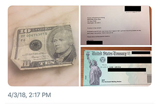 picture of ripped dollar and a government check