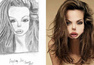 angelina jolie drawn portrait and irl version