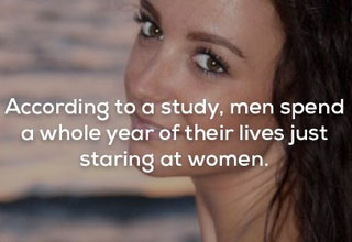 a woman near the ocean looking at the camera smilling with text about men staring at women for a year of their lives