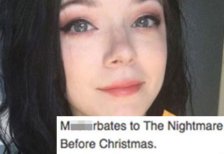 a girl with black hair and red lipstick and a reddit comment about nightmare before christmas
