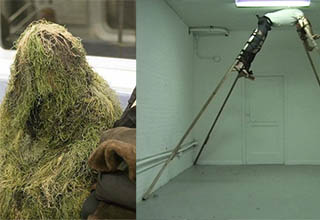 man wearing grass on a subway train. A guy strapped by stilts in a barren room.