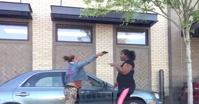 lady pointing a gun at another lady's head in the drive-through of an atlanta chick-fi-a