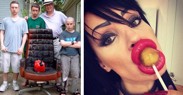 a family that set a chair on fire and a woman with big lips eating a sucker