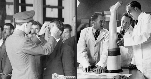 man checking another mans eyes and  men in lab coats looking at a female leg