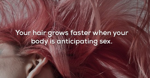 a woman with pink hair and text about hair growth