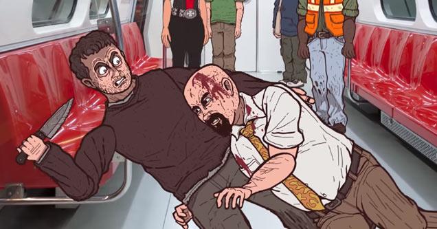 an animated drawing of a man tackling his attacker on the subway