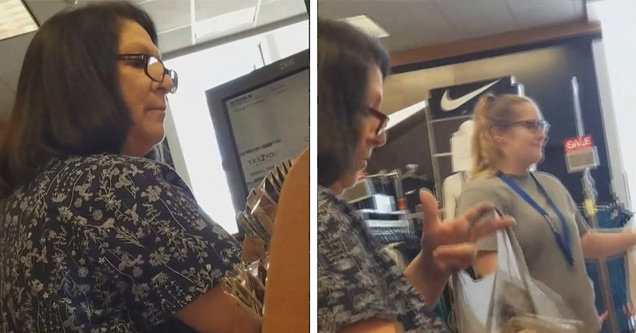 a woman with glasses stars angrily at a female cashier