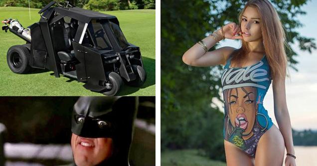golf car looks like bat mobile and a girl in bikini