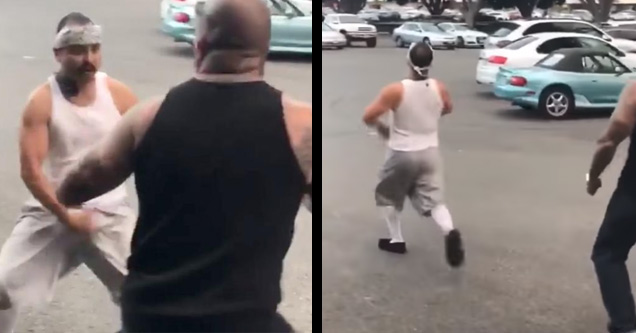 a man in white tank top and shorts in front of security then running away