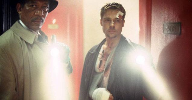 Morgan Freeman and Brad Pitt in the movie 7