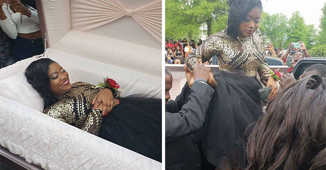 girl in a prom dress laying in a coffin