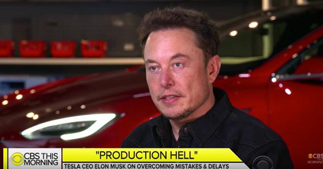 Elon Musk inside the Tesla model 3 factory