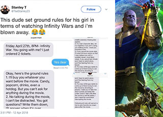 text messages and a picture of thanos