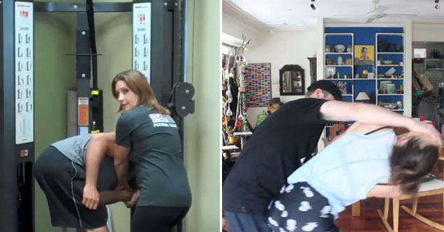 a lady grappling with a man successfully in the gym, and a different lady fails miserably at home